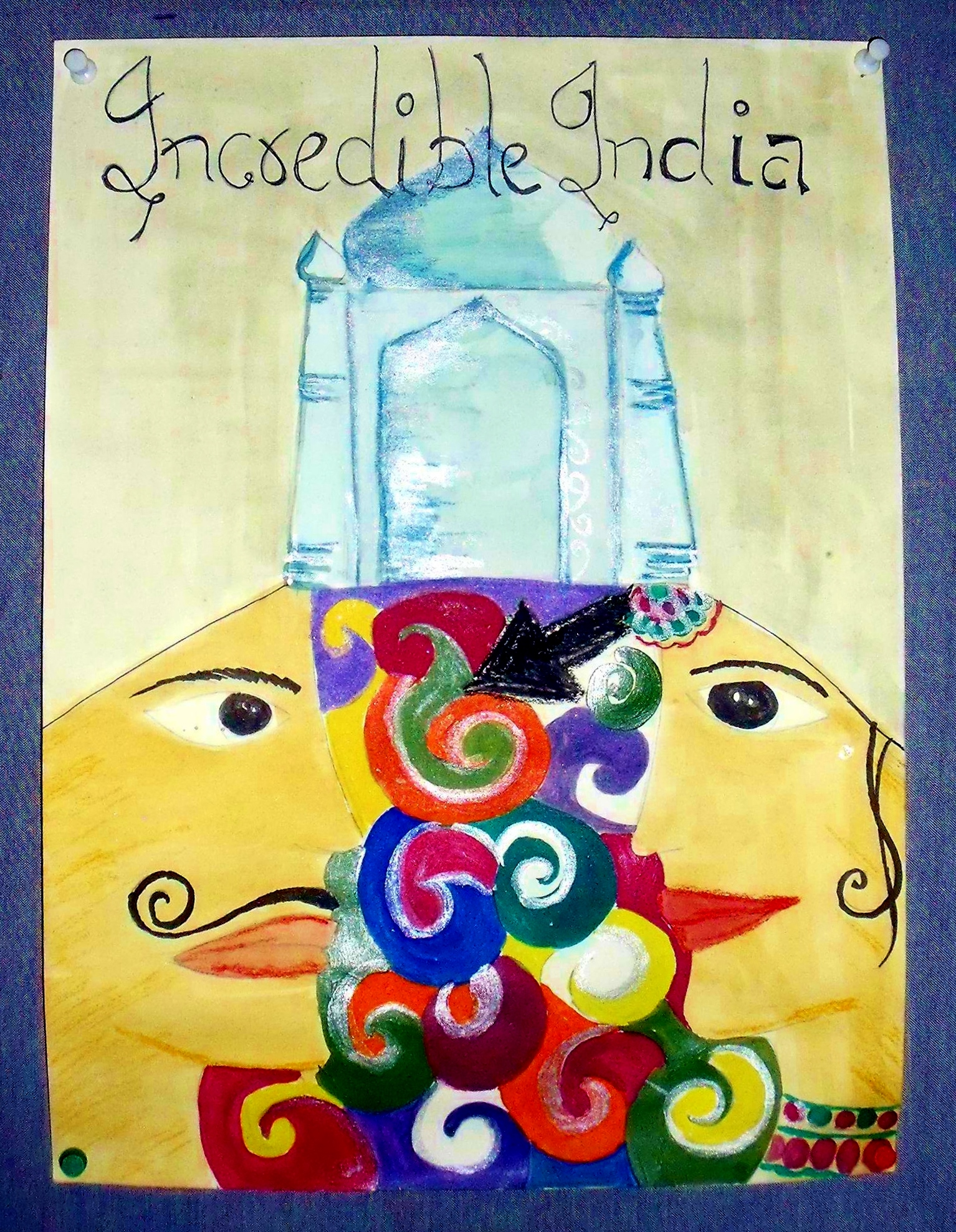 drawing by an elementary school child from Mathura