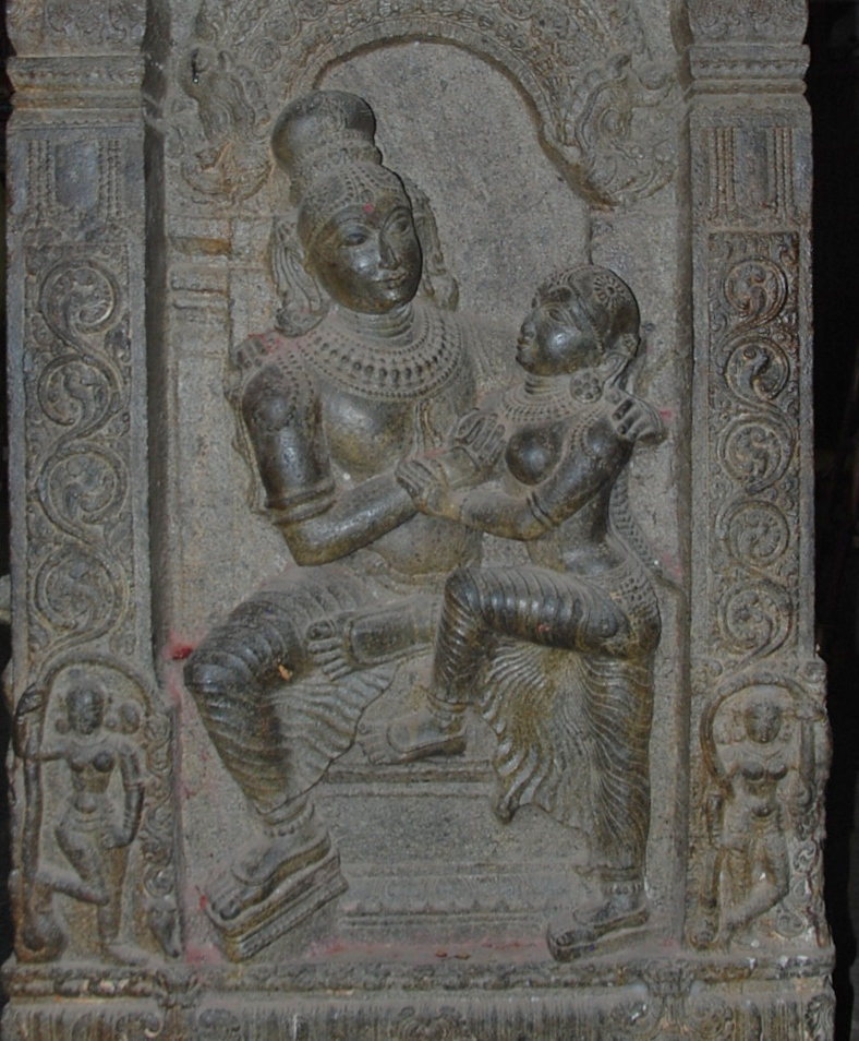 Manmatha with his wife Rati Ramaswamy Temple column carving