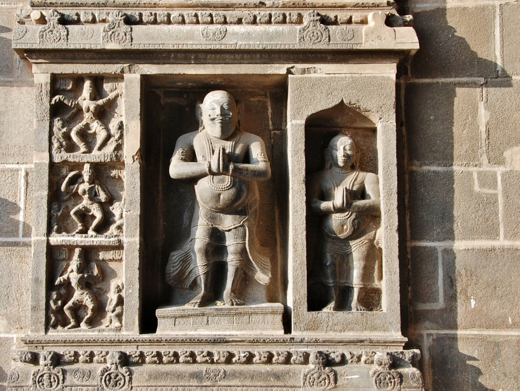"A ""sage"" in high relief on a wall of the  Nataraja temple"