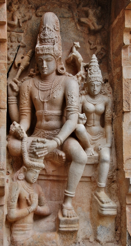 The beautiful carving of Shiva placing a wreath on Chandesha. It's located at the entrance of the temple main shrine