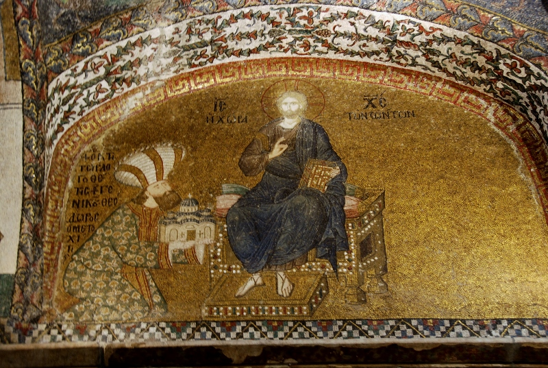 Christ enthroned and Theodore Metochites presenting a model of his church