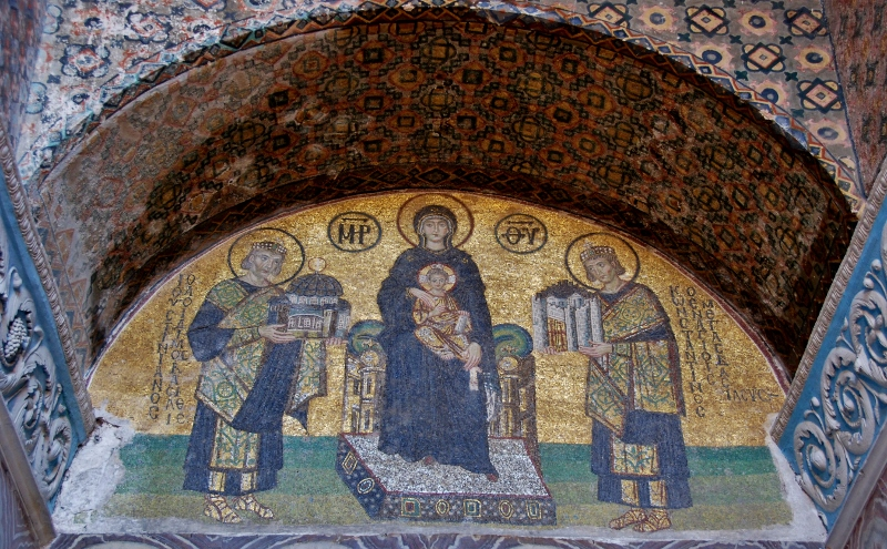 mosaic of the Virgin and Child with Justinian I and Constantine I
