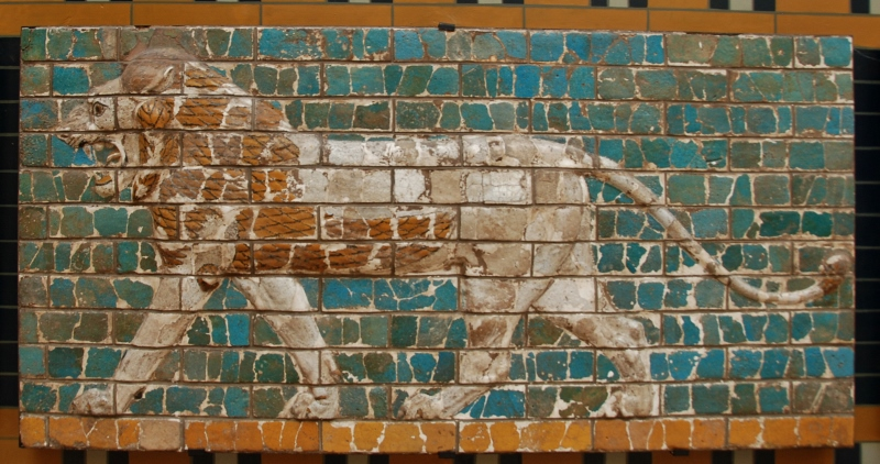 Archaeological museum: a lion from Babylon Procession Street