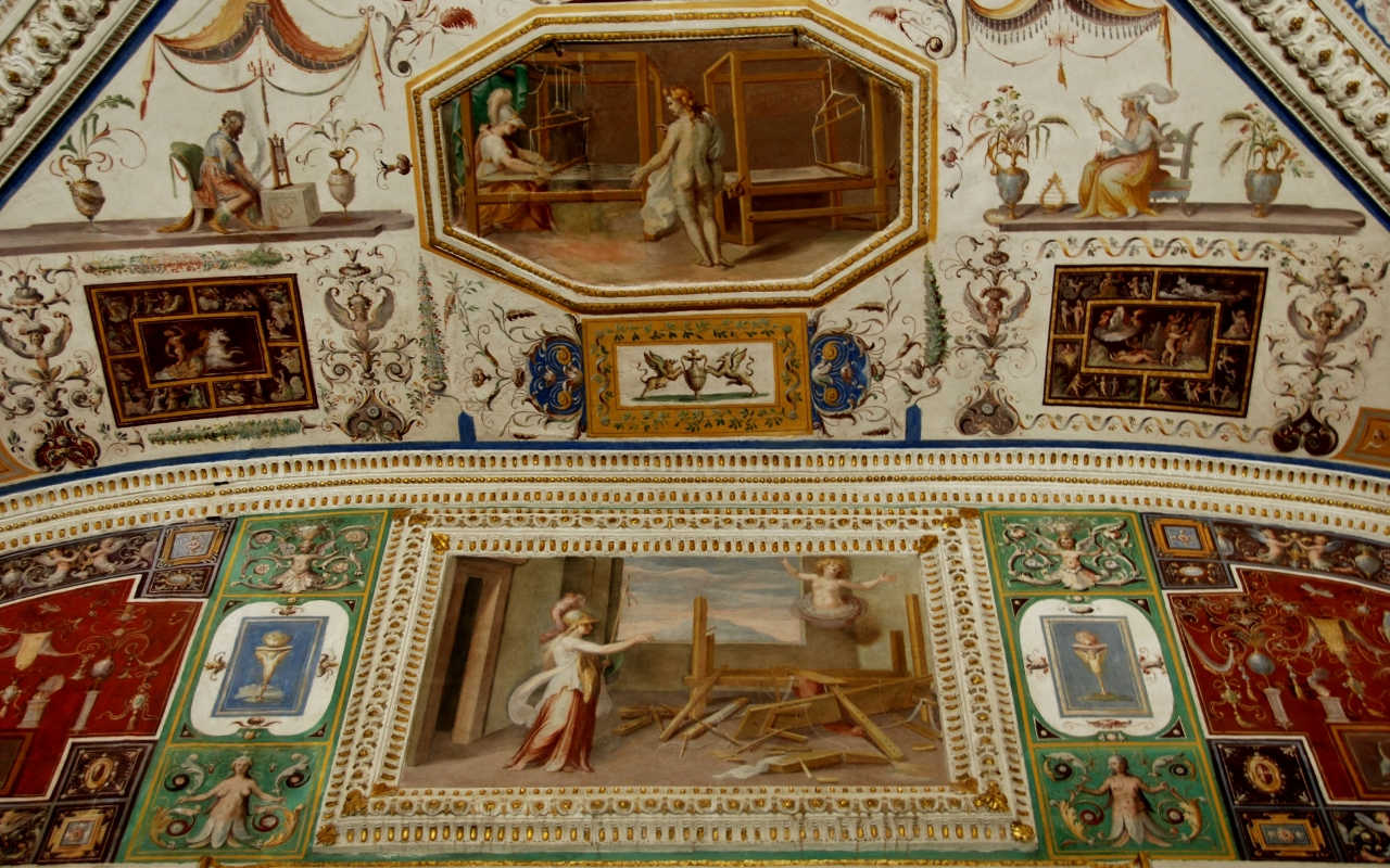 Room of the woolmakers.   Arachne challenges Minerva to a weaving contest and Minerva destroys the loom and changes Arachne into a spider