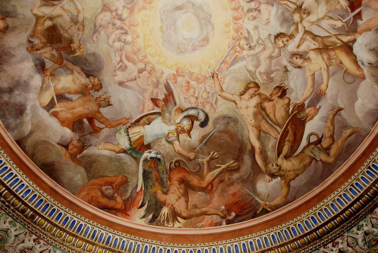 The Anteroom of the Angels.  Vault detail: The banishment of the rebel Angels.