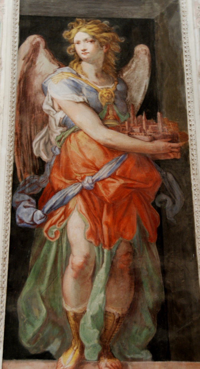 Anteroom of the Angels.  An Angel with Jerusalem