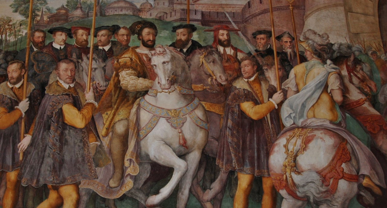 Room of Farnese Deeds. Detail of a fresco. Francis I welcomes Charles V and Cardinal Farnese.