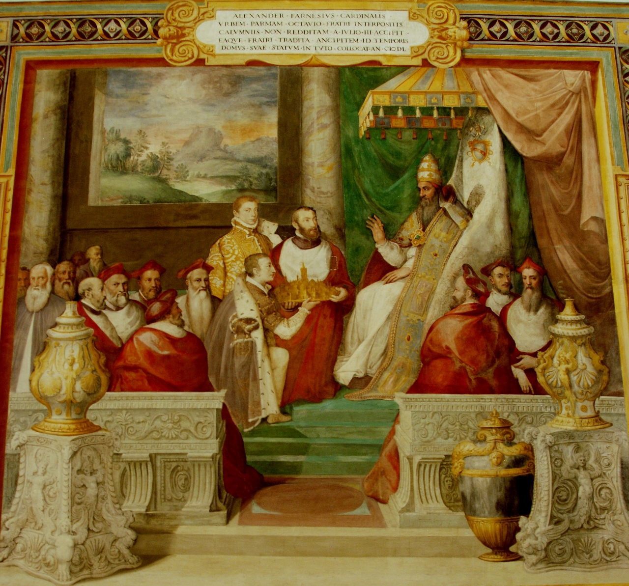 Room of Farnese Deeds.  Julius III returns the city of Parma to the Farnese