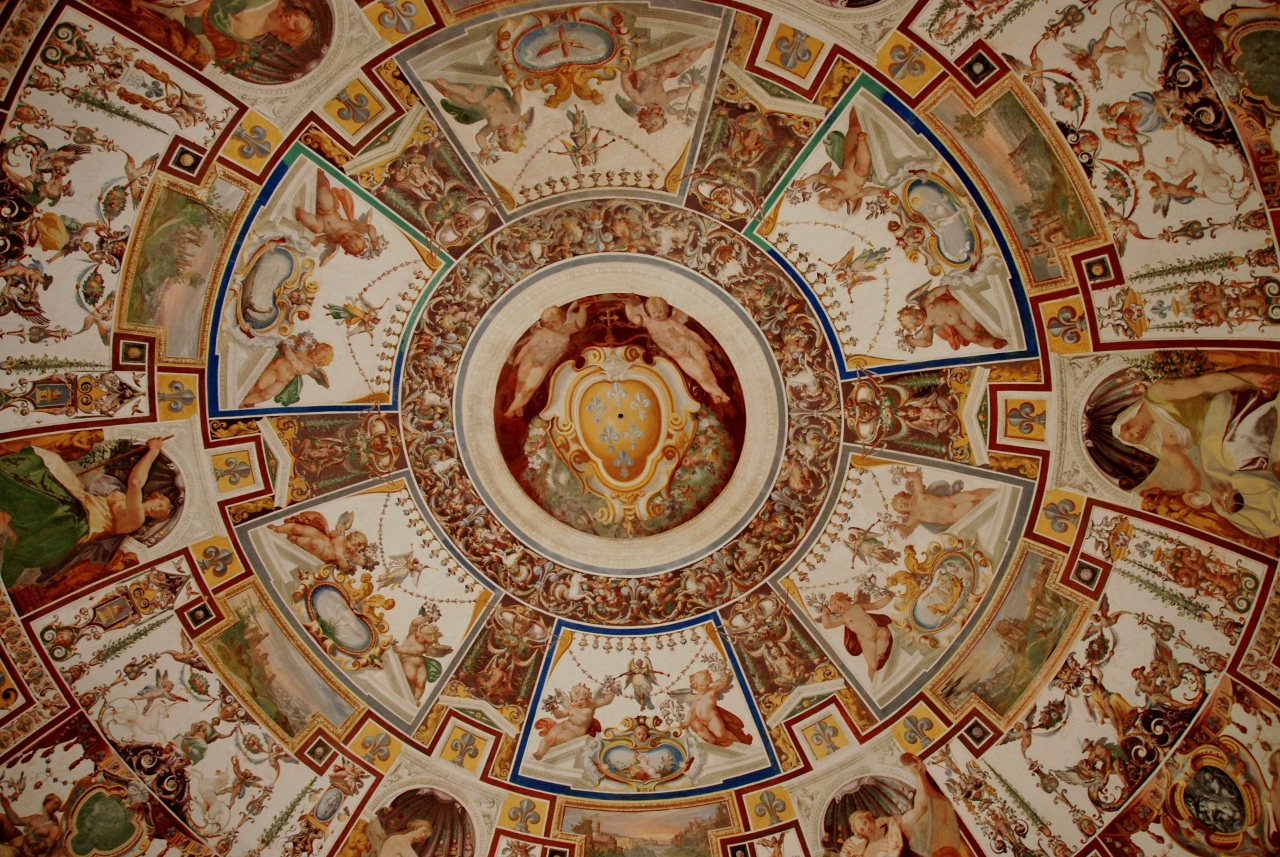 The frescoed vault of the Scala Regia