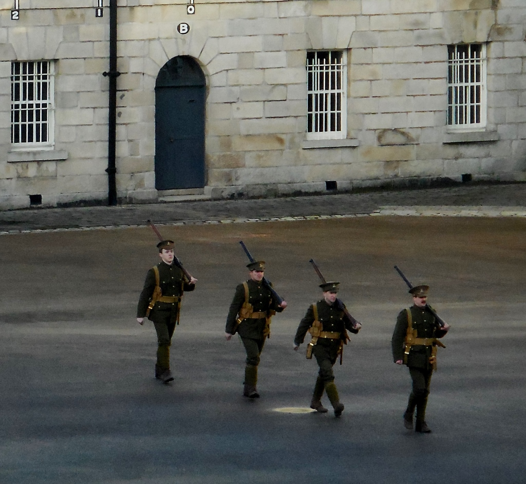 Soldiers on parade inside the Collins Barraks after RBS win of  Ireland over England