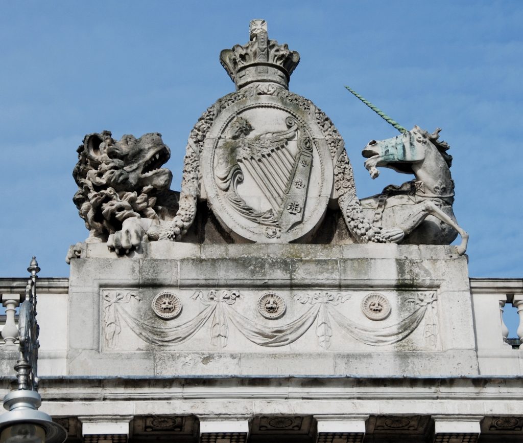 The Coat of Arms of the Kingdom of Ireland (from 1542 to 1800) as seen on the Custom House)